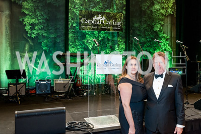 Gala Co-Chair Lisa Zuccari and Capital Caring Interim CEO Tom Koutsoumpas. Photo by Tony Powell. 2018 Capital Caring Gala. Marriott Marquis. November 17, 2018