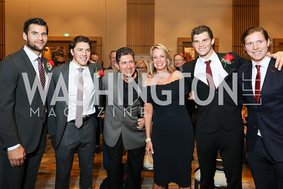 Tom Wilson, TJ Oshie, Frank and Lisa Odeh, Andre Burakovsky, Nicklas Backstrom. Photo by Tony Powell. 2018 Capitals Casino Night II. MGM. October 14, 2018