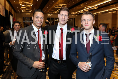 Madison Bowey, Dmitrij Jaskin, Jakub Vrana. Photo by Tony Powell. 2018 Capitals Casino Night II. MGM. October 14, 2018