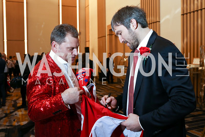 Alex Ovechkin signing a fan's jersey. Photo by Tony Powell. 2018 Capitals Casino Night. MGM. January 4, 2018