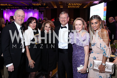 Robert and Anna Trone, Maryanne Fiorita, Justice John Roberts and Jane Roberts, Karen Donatelli. Photo by Tony Powell. 2018 Catholic Charities Gala. Marriott Marquis. April 7, 2018