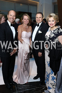 Rep. John and April Delaney, Arturo Brillembourg and Hilda Ochoa Brillembourg. Photo by Tony Powell. 2018 Catholic Charities Gala. Marriott Marquis. April 7, 2018