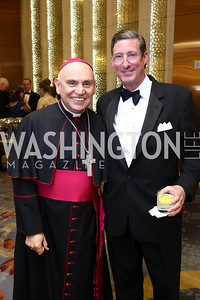 Bishop Mario Dorsonville, Larry Fisher. Photo by Tony Powell. 2018 Catholic Charities Gala. Marriott Marquis. April 7, 2018