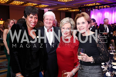 Mayor Muriel Bowser, Mark Tuohey, Linda Rabbitt, Marty Tuohey. Photo by Tony Powell. 2018 Catholic Charities Gala. Marriott Marquis. April 7, 2018