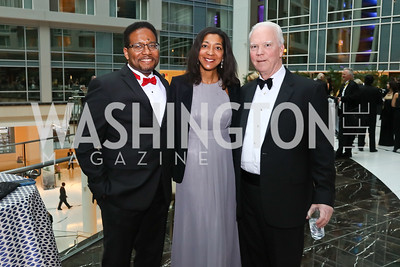 Darryll Pines, Sylvia Pines, Bob Flanagan. Photo by Tony Powell. 2018 Catholic Charities Gala. Marriott Marquis. April 7, 2018