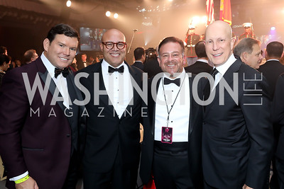 Bret Baier, Michael Powell, Raul Fernandez, Matt Shay. Photo by Tony Powell. 2018 Fight Night. Washington Hilton. November 1, 2018