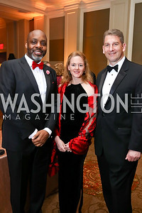Richard Benson, Rebecca and Erich Sanchack. Photo by Tony Powell. 2018 Heart Ball. Mandarin Oriental. February 24, 2018