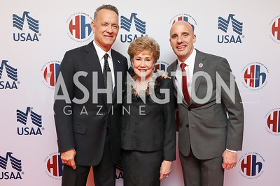 Tom Hanks, Elizabeth Dole, Elizabeth Dole Foundation Executive Director Steve Schwab. Photo by Tony Powell. 2018 Heroes and History Makers. Washington Hilton. November 29, 2018