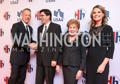 Tom Hanks, Bulgaria Amb. Tihomir Stoytchev, Elizabeth Dole, Savannah Guthrie. Photo by Tony Powell. 2018 Heroes and History Makers. Washington Hilton. November 29, 2018