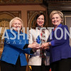 Melanne Verveer, Trailblazer Award Recipient Lyse Doucet, Hillary Rodham Clinton. Photo by Tony Powell. 2018 HRC Awards. GU. February 5, 2018