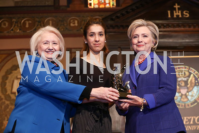 Melanne Verveer, HRC Award for Advancing Women in Peace and Security Recipient Nadia Murad, Hillary Rodham Clinton. Photo by Tony Powell. 2018 HRC Awards. GU. February 5, 2018