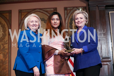 Melanne Verveer, HRC Award for Advancing Women in Peace and Security Recipient Wai Wai Nu, Hillary Rodham Clinton. Photo by Tony Powell. 2018 HRC Awards. GU. February 5, 2018