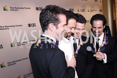 Hamilton choreographer Andy Blankenbuehler, composer Lin-Manuel Miranda, director Thomas Kail and music director Alex Lacamoire. Photo by Tony Powell. 2018 Kennedy Center Honors. December 2, 2018