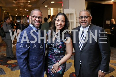 Brett Greene, Tiffani Turner Greene, Scott Bolden. Photo by Tony Powell. N Street Village Annual Gala. Marriott Marquis. March 14, 2018