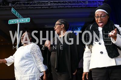 Rose Shaw, Lolita Mitchell, Monique Edjime. Photo by Tony Powell. N Street Village Annual Gala. Marriott Marquis. March 14, 2018