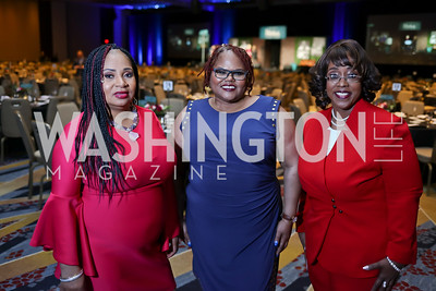 Rita Lewis, Karen Bell, Paula Buggage. Photo by Tony Powell. N Street Village Annual Gala. Marriott Marquis. March 14, 2018