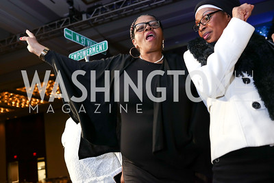 Lolita Mitchell, Monique Edjime. Photo by Tony Powell. N Street Village Annual Gala. Marriott Marquis. March 14, 2018