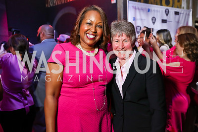 Dr. Regina Hampton, Beth Beck. Photo by Tony Powell. 2018 Newsbash. Pearl Street Warehouse. February 20, 2018