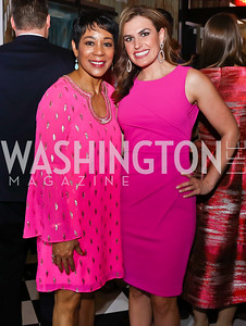 WUSA's Andrea Roane and Erin Como. Photo by Tony Powell. 2018 Newsbash. Pearl Street Warehouse. February 20, 2018