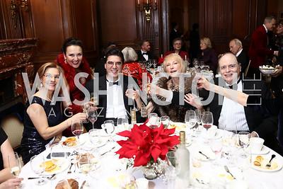 Lubka Stoytchev, Rhoda Septilici, Bulgaria Amb. Tihomir Stoytchev, Lola Reinsch, Bill Detty. Photo by Tony Powell. 2018 Russian Ball. January 13, 2018