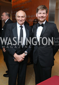 Michael Kahn, Simon Godwin. Photo by Tony Powell. 2018 Shakespeare Theatre Co. Gala. Building Museum. October 14, 2018