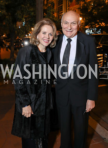 Renee Fleming, Michael Kahn. Photo by Tony Powell. 2018 Shakespeare Theatre Co. Gala. Building Museum. October 14, 2018