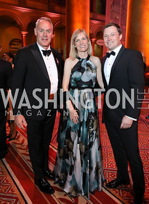 Interior Sec. Ryan Zinke, Ulla Ronberg and Denmark Amb. Lars Lose. Photo by Tony Powell. 2018 Shakespeare Theatre Co. Gala. Building Museum. October 14, 2018