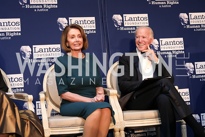 Speaker Nancy Pelosi, Vice President  Joe Biden. Photo by Tony Powell. 2018 Tom Lantos Human Rights Prize Award Ceremony. Willard Hotel. December 5, 2018