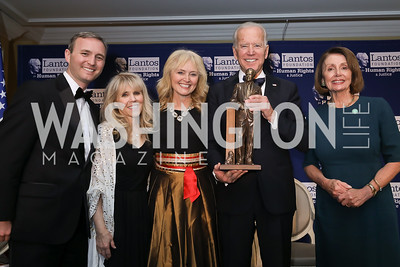 Dr. Tomicah Tillemann-Dick, Annette Lantos Tillemann-Dick, Katrina Lantos Swett, Vice President Joe Biden, Speaker Nancy Pelosi. Photo by Tony Powell. 2018 Tom Lantos Human Rights Prize Award Ceremony. Willard Hotel. December 5, 2018