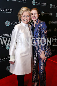 Hillary Clinton, Actress Zoey Deutch. Photo by Tony Powell. 2018 Vital Voices Gala. Kennedy Center. April 4, 2018
