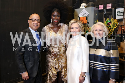 Darren Walker, Bozoma Saint John, Hillary Clinton, Melanne Verveer. Photo by Tony Powell. 2018 Vital Voices Gala. Kennedy Center. April 4, 2018