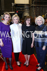 Alyse Nelson, Hillary Clinton, Sally Field, Melanne Verveer. Photo by Tony Powell. 2018 Vital Voices Gala. Kennedy Center. April 4, 2018