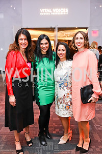 Jeannette Astorga, Rohini Barretto, Marlo Tablante, Courtney Levin. Photo by Tony Powell. 2018 Vital Voices Gala. Kennedy Center. April 4, 2018