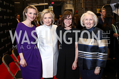 Alyce Nelson, Hillary Clinton, Sally Field, Melanne Verveer. Photo by Tony Powell. 2018 Vital Voices Gala. Kennedy Center. April 4, 2018