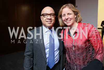 Darren Walker, Megan Smith. Photo by Tony Powell. 2018 Vital Voices Gala. Kennedy Center. April 4, 2018