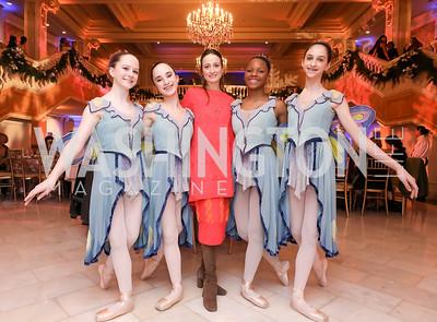 Katherine Kilbourn, Amelia Otte, Julie Kent, Sydnie Collins, Emily Blackstone. Photo by Tony Powell. 2018 WB Nutcracker Tea. NMWA. December 9, 2018