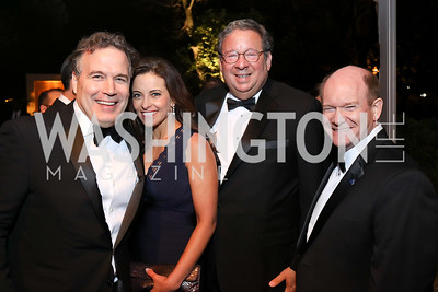 David McCormick, Dina Powell, David Cohen, Sen. Chris Coons. Photo by Tony Powell. 2018 WHC NBC News MSNBC After Party. OAS. April 28, 2018
