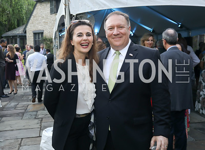 Kosovo Amb. Vlora Citaku, Sec. Mike Pompeo. Photo by Tony Powell. 2018 Welcome Summer Party. Villa Firenze. June 19, 2018