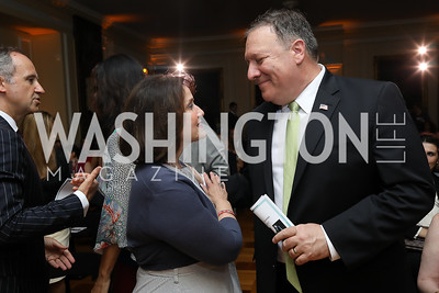 Anita McBride, Sec. Mike Pompeo. Photo by Tony Powell. 2018 Welcome Summer Party. Villa Firenze. June 19, 2018