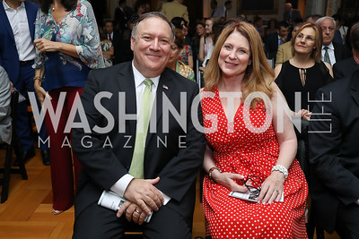 Sec. Mike Pompeo and Susan Pompeo. Photo by Tony Powell. 2018 Welcome Summer Party. Villa Firenze. June 19, 2018
