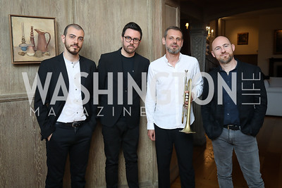 Jacopo Ferrazza, Julian Oliver Mazzariello, Fabrizio Bosso, Nicola Angelucci. Photo by Tony Powell. 2018 Welcome Summer Party. Villa Firenze. June 19, 2018