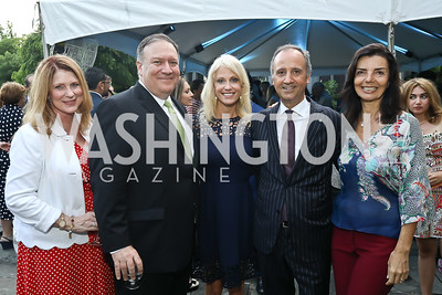 Susan Pompeo and  Sec. Mike Pompeo, Kellyanne Conway, Italy Amb. Armando Varricchio and Micaela Varricchio. Photo by Tony Powell. 2018 Welcome Summer Party. Villa Firenze. June 19, 2018