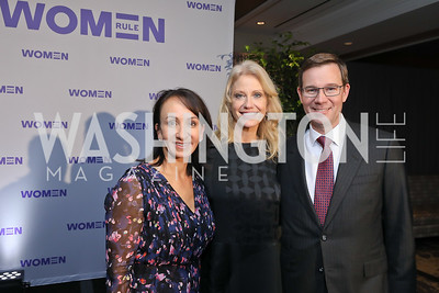 Elena Allbritton, Kellyanne Conway, Robert Allbritton. Photo by Tony Powell. 2018 Women Rule Summit. Four Seasons. December 10, 2018