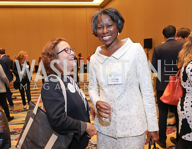 Mary's Center President and CEO Maria Gomez, Shirley Marcus Allen. Photo by Tony Powell. 2018 Women's Foundation Luncheon. October 30, 2018