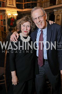 Dr. Azar Nafisi, Carl Gershman. Photo by Tony Powell. 2018 Women's Rights in Iran Dinner. GWU. December 5, 2018