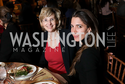 Minister Counselor Catherine Fluniani, Suzanne Kianpour. Photo by Tony Powell. 2018 Women's Rights in Iran Dinner. GWU. December 5, 2018
