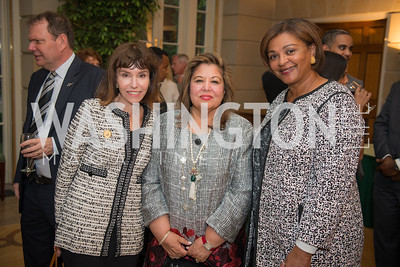 Meryl Chertoff, Shista Mahmood, Marcia Jackson, 50th Annual Meridian Ball Leadership Committee Reception at the Blair House, co-hosted with Ambassador Sean P. Lawler.  September 13, 2018, Photo by Ben Droz.