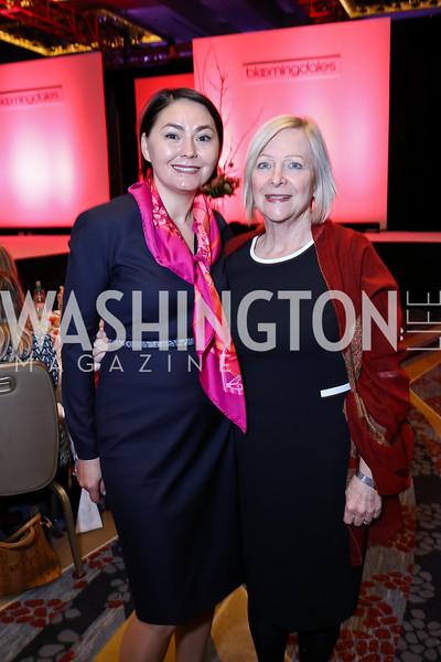 "Wife of Kazakhstan Amb. Danara Kazykhanova, Wife of Ireland Amb. Greta Mulhall. Photo by Tony Powell. 2018 ""An Affair of the Heart."" Marriott Marquis. February 6, 2018"