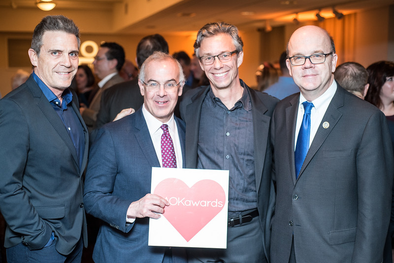 Roderick Spencer, David Brooks, David Simpson, Congressman Jim McGovern, First Annual All Our Kids Awards Dinner, AOK, at Sixth & I, February 15, 2018, photo by Ben Droz.