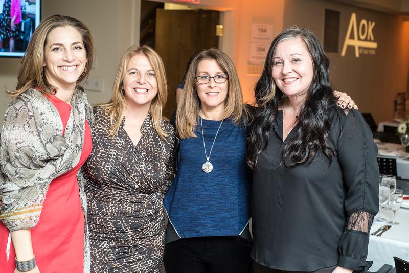Rachel Goslins, Kathy Fletcher, Kaethe Zellner, Carolyn Fletcher, First Annual All Our Kids Awards Dinner, AOK, at Sixth & I, February 15, 2018, photo by Ben Droz.